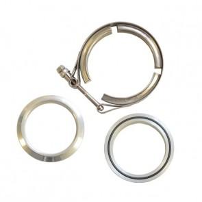 """Kit Abraçadeiras Tipo V-Band / V-Clamp + Par de Flange 100% em Alumínio 3-1/2"""" polegadas"""