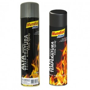 Tinta Spray de Alta Temperatura Preto Fosco / Alumínio 400ml - Mundial Prime