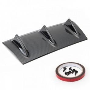 Kit Spoiler Para-Choque Traseiro Universal 3 Aletas Difusor Lip 14'' Epman - Fibra de Carbono