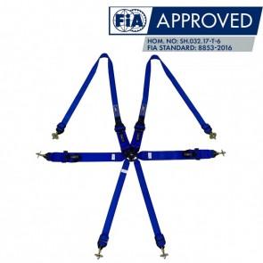 """Cinto Racing 6 Pontos de 3"""" e 2"""" Compatível com Sistema Hans Certificado FIA 88532016 - Azul"""