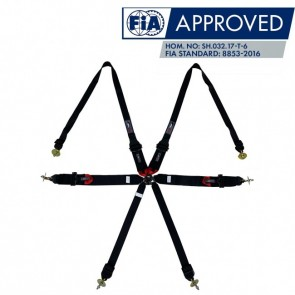 """Cinto Racing 6 Pontos de 3"""" e 2"""" Compatível com Sistema Hans Certificado FIA 88532016 - Preto"""