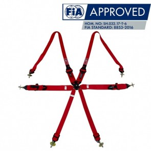 """Cinto Racing 6 Pontos de 3"""" e 2"""" Compatível com Sistema Hans Certificado FIA 88532016 - Vermelho"""