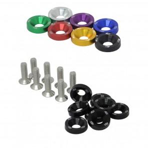 Conjunto de Arruelas em Alumínio com Parafusos M6 (8 Conjuntos) - Cores Disponíveis