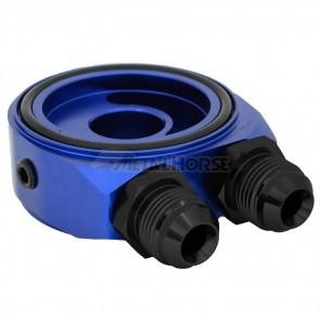 Suporte Completo (Niples Preto) de Filtro de Óleo para Radiador Remoto (Tipo Sandwich Plate) - Azul